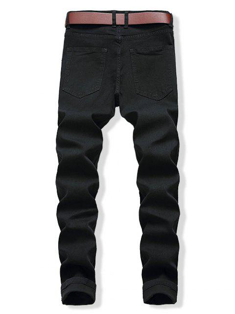 new Distressed Decorated Zip Fly Casual Jeans - BLACK 36 Mobile