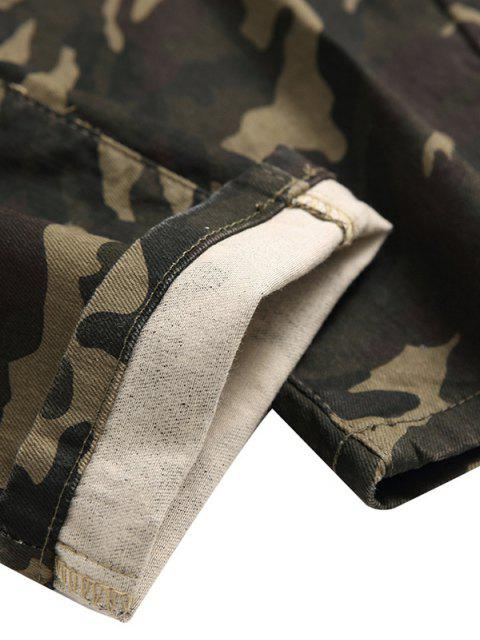 affordable Camo Pattern Zipper Fly Casual Jeans - ARMY GREEN 36 Mobile