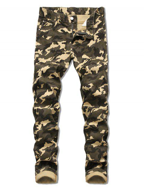 shops Camo Pattern Zip Fly Casual Cuffed Jeans - ARMY GREEN 38 Mobile