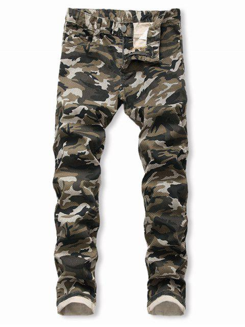 womens Camo Pattern Casual Zip Fly Cuffed Jeans - ARMY GREEN 38 Mobile