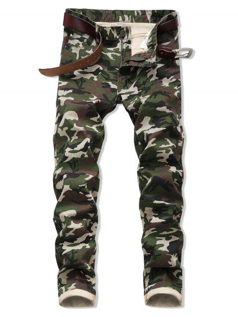 women Camo Pattern Zipper Fly Casual Cuffed Jeans - ARMY GREEN 42 Mobile