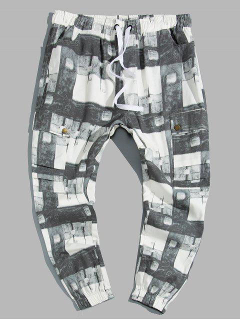 latest Plaid Print Drawstring Cargo Jogger Pants - MULTI S Mobile