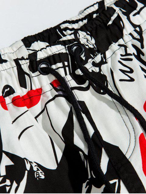 womens Allover Cartoon Print Drawstring Cargo Jogger Pants - MULTI 2XL Mobile