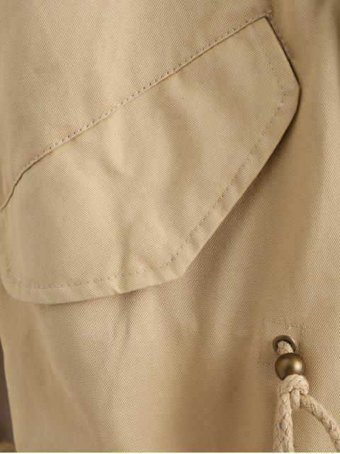 outfits Faux Fur Hooded Parka Jacket - LIGHT KHAKI S Mobile