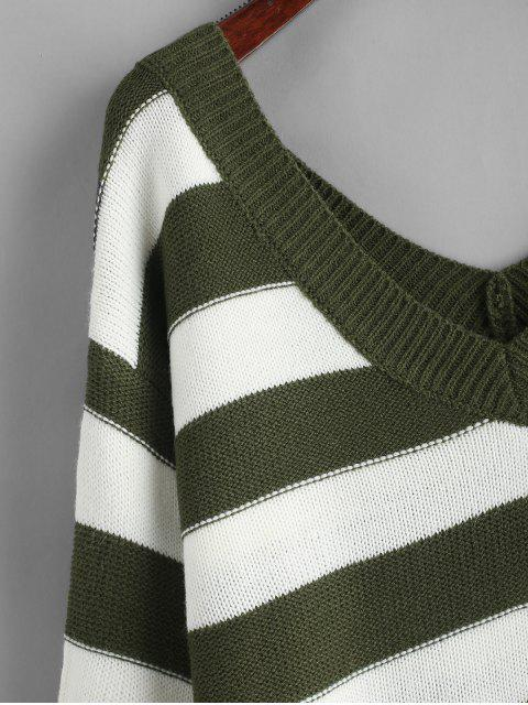 lady ZAFUL Double V Stripes Color Block Pullover Sweater - GREEN S Mobile