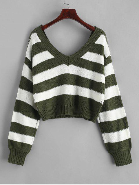 women's ZAFUL Double V Stripes Color Block Pullover Sweater - GREEN M Mobile