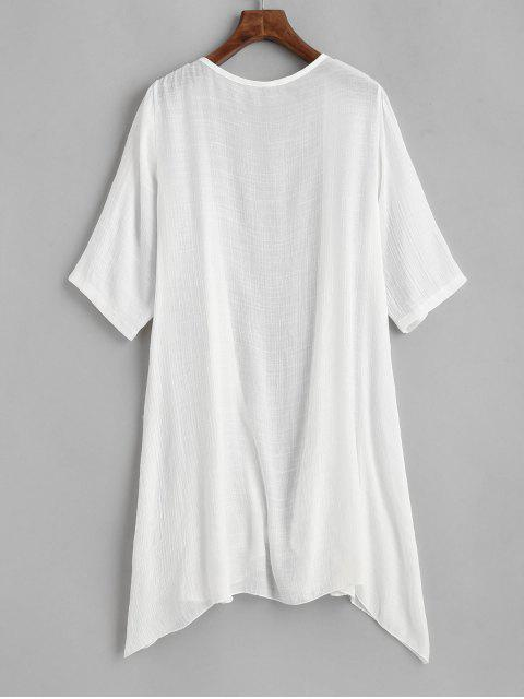 fashion Collarless Open Front Sheer Tunic Beach Cover Up - WHITE ONE SIZE Mobile