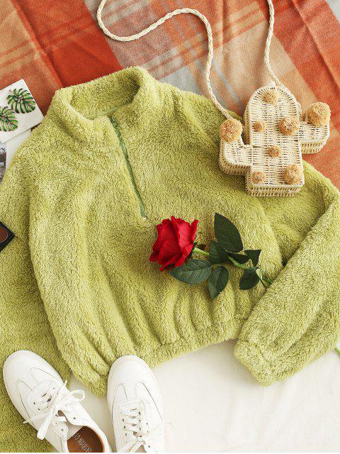 women ZAFUL Half Zip Cropped Fuzzy Sweatshirt - GREEN XL Mobile