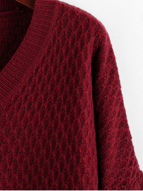 fashion ZAFUL Fish Scale Knit Drop Shoulder V Neck Sweater - RED WINE S Mobile