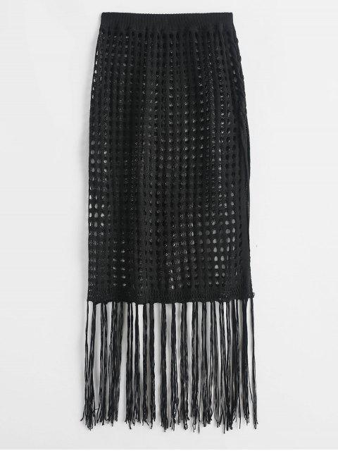 С бахромой Боковой разрез Вязание Юбка - Чёрный Один размер Mobile