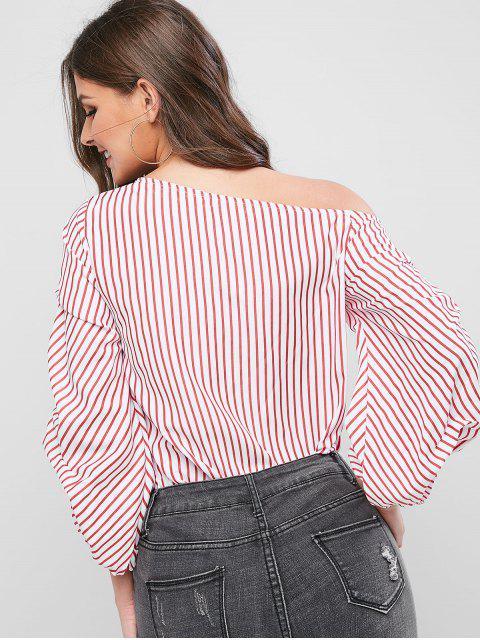 women Striped Skew Collar Lantern Sleeve Blouse - RED S Mobile