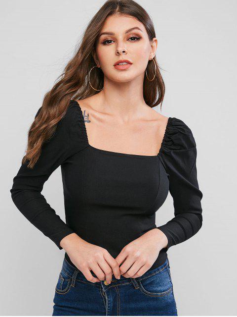 buy Square Neck Puff Sleeve Slim Blouse - BLACK L Mobile
