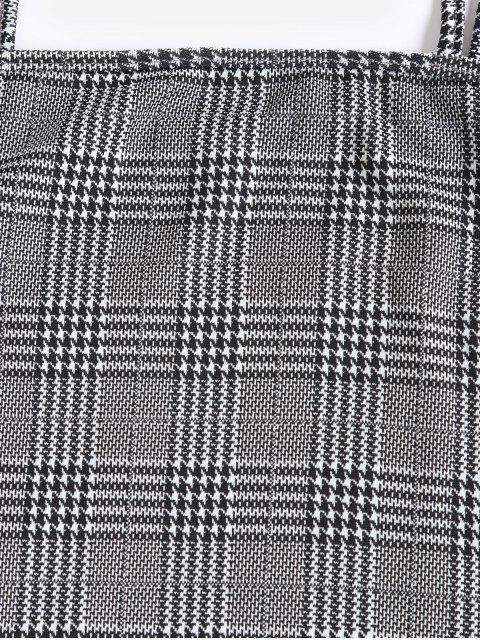 ZAFUL Robe Fourreau à Carreaux à Bretelle Fine - Noir S Mobile