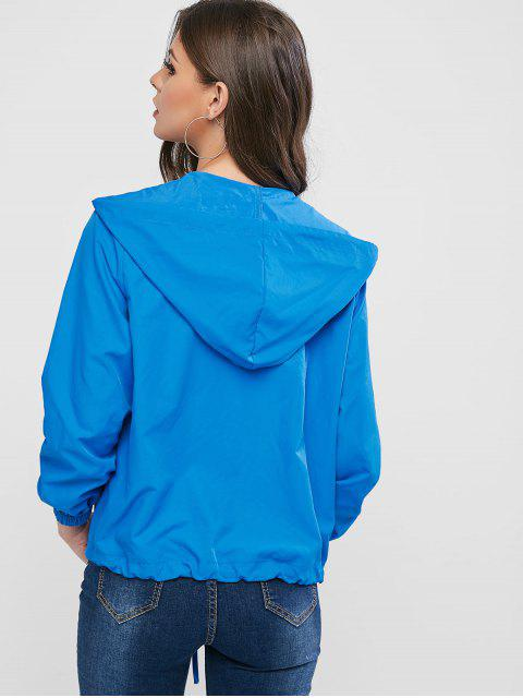 online ZAFUL Zip Up Windbreak Hooded Jacket - BLUE M Mobile