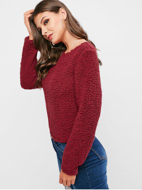 ladies ZAFUL Twist Back Solid Teddy Sweatshirt - RED WINE XL Mobile
