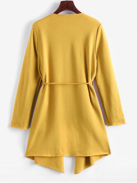 Manteau Cascade Ceinturé Jointif avec Poches - Jaune d'Abeille M Mobile