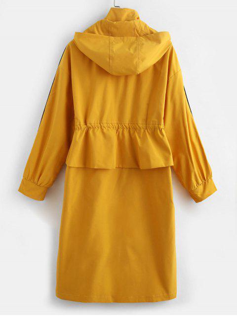 Zip Up Escudo lazo de la cintura con capucha Trench - Amarillo de Sol  M Mobile