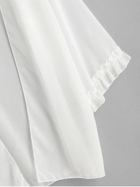 Шифон С оборкой Кимоно Прозрачная Накидка - Белый Один размер Mobile