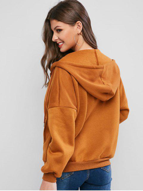 best ZAFUL Front Zip Drop Shoulder Drawstring Fleece Hoodie - CARAMEL M Mobile