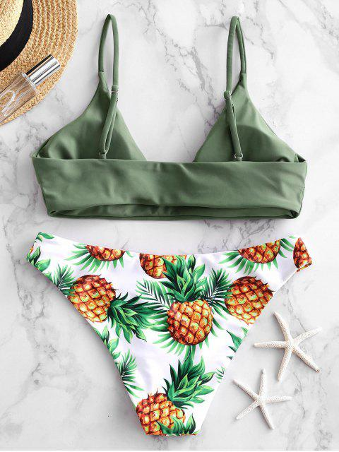 chic ZAFUL Pineapple Leaf Contrast Bikini Swimsuit - CAMOUFLAGE GREEN S Mobile