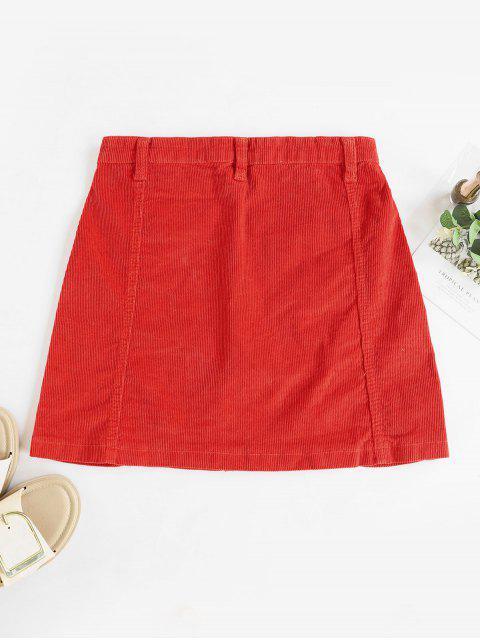 Reißverschluss Oben Kord Minirock - Kastanie Rot XL Mobile