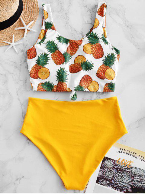 ZAFUL piña anudada High Cut Tankini del traje de baño - Amarillo Brillante XL Mobile