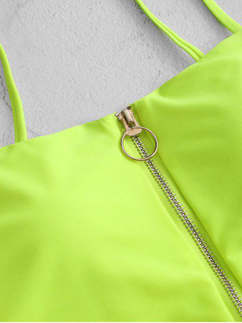 ZAFUL neón anillo de tiro de cremallera High Cut Tankini del traje de baño - Verde Amarillo M Mobile
