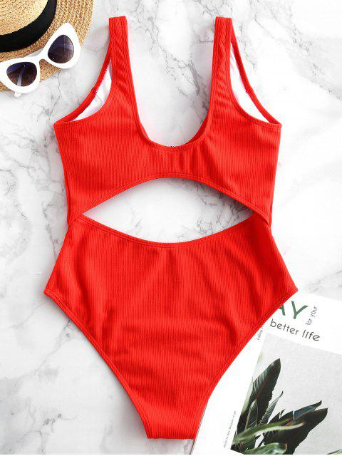 women ZAFUL Cutout Ribbed High Rise One-piece Swimsuit - RED S Mobile