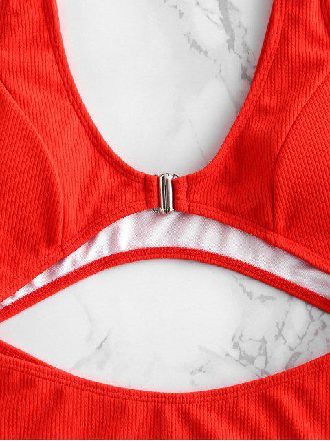ZAFUL С вырезом Высокая талия Рубчатый Слитный Купальник - Красный L Mobile
