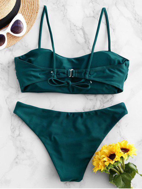 ZAFUL Bikini Badeanzug mit Hohem Bein - Pfauenblau M Mobile