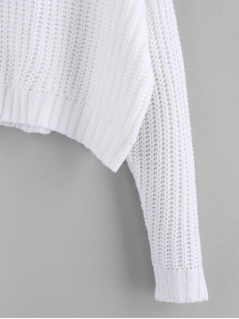 ZAFUL Tropfen Schulter Stehkragen Lose Pullover - Weiß M Mobile