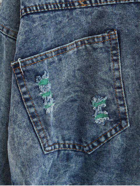 按鈕前方心疼口袋牛仔夾克 - 牛仔布藍色 M Mobile