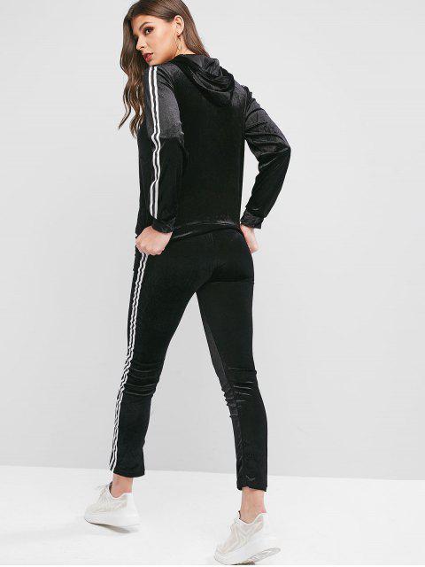 條紋連帽錄播掌上絲絨兩件運動服套裝 - 黑色 XL Mobile