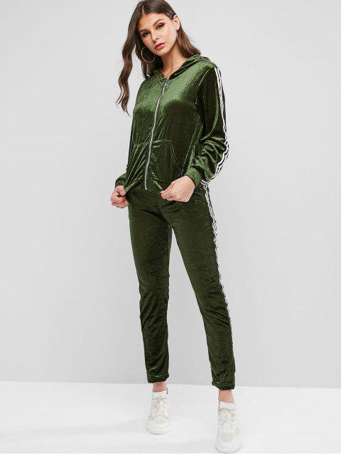 sale Striped Taped Hooded Velvet Pocket Two Piece Sweatsuit Set - ARMY GREEN M Mobile
