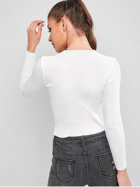V領收緊固針織品 - 白色 One Size Mobile