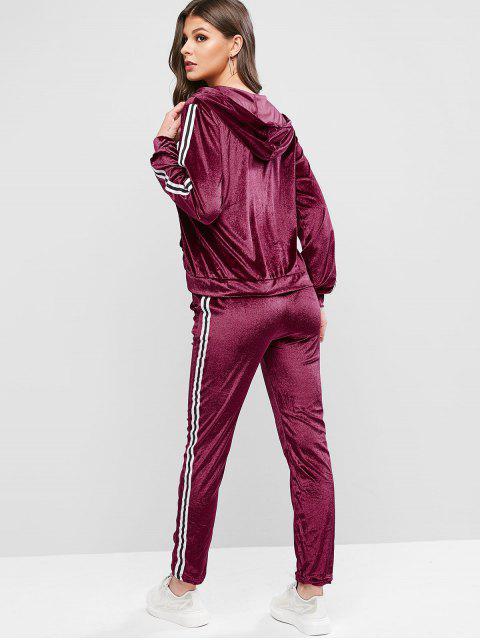 條紋連帽錄播掌上絲絨兩件運動服套裝 - 紅酒 XL Mobile