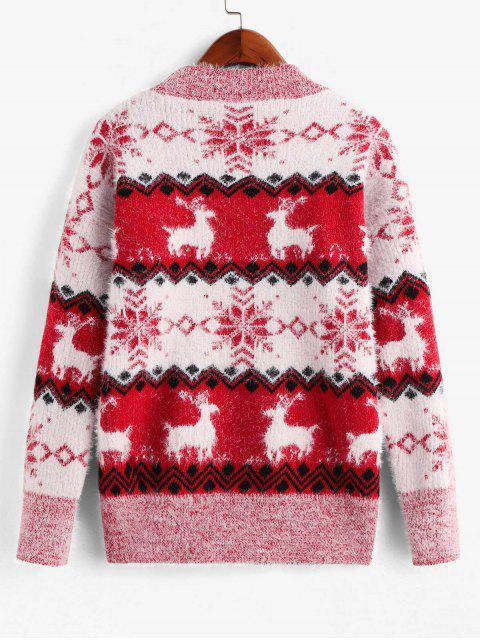 Stehkragen Elch Schneeflockegraphik Weihnachten Pullover - Rot Eine Größe Mobile
