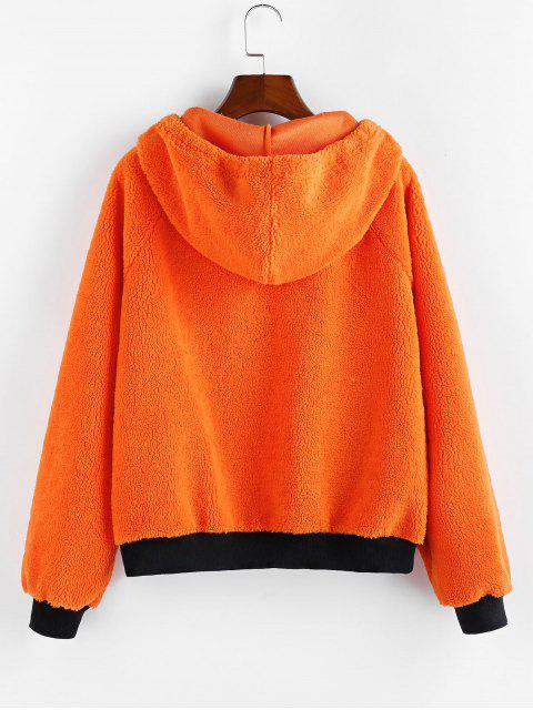 outfit ZAFUL Raglan Sleeves Contrast Hooded Teddy Jacket - HALLOWEEN ORANGE M Mobile