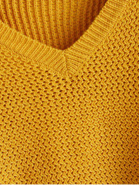 latest ZAFUL V Neck Plain Jumper Sweater - BEE YELLOW L Mobile