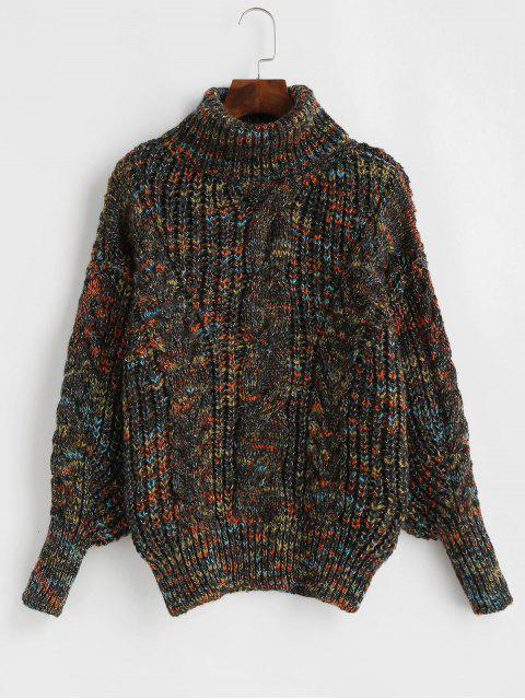 womens Heathered Turtleneck Cable Knit Pullover Sweater - MULTI-D ONE SIZE Mobile