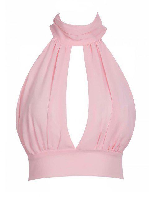 Tie Zurück Ausschnitt Lace Trim Crop Top - Pink M Mobile