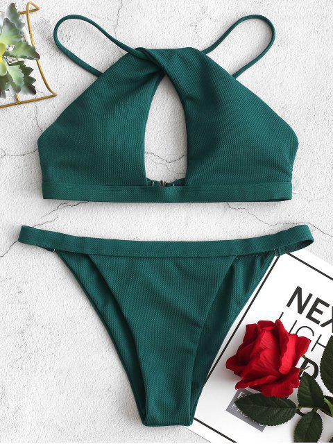ZAFUL Strukturierter Twist Ausschnitt Bikini-Badeanzug - Blaugrün L Mobile