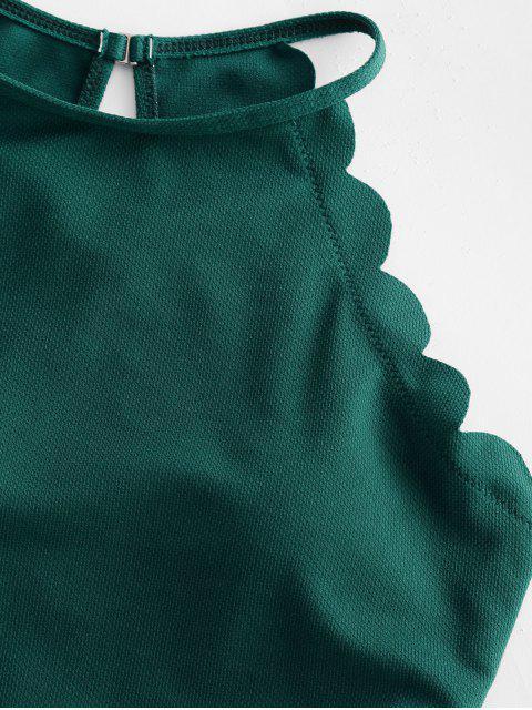 ZAFUL textura festoneado de Tankini del traje de baño - Mar Verde Mediana M Mobile