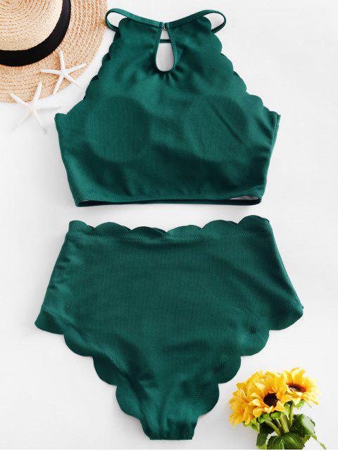 ZAFUL textura festoneado de Tankini del traje de baño - Mar Verde Mediana S Mobile