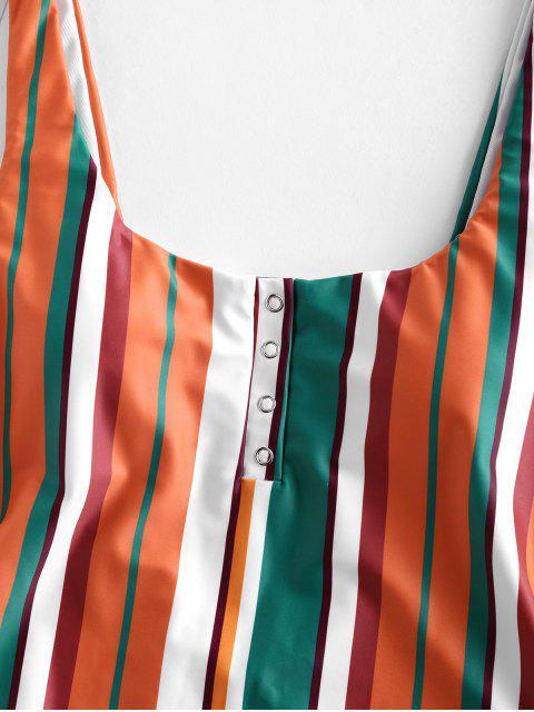 hot ZAFUL Multi Striped Snap Button High Leg One-piece Swimsuit - MULTI-A XL Mobile