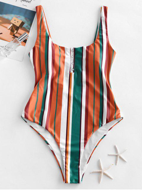 outfit ZAFUL Multi Striped Snap Button High Leg One-piece Swimsuit - MULTI-A L Mobile
