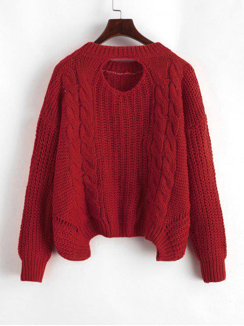 Tropfen Schulter Zopfmuster Rückenausschnitt Pullover - Rot Eine Größe Mobile