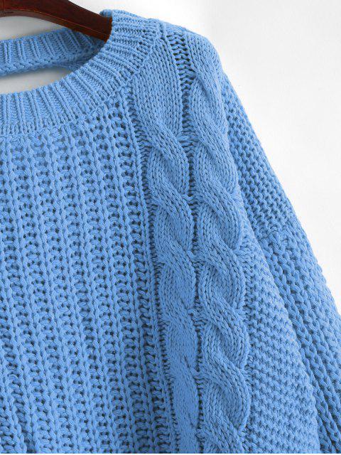 Tropfen Schulter Zopfmuster Rückenausschnitt Pullover - Blaue Koifisch Eine Größe Mobile