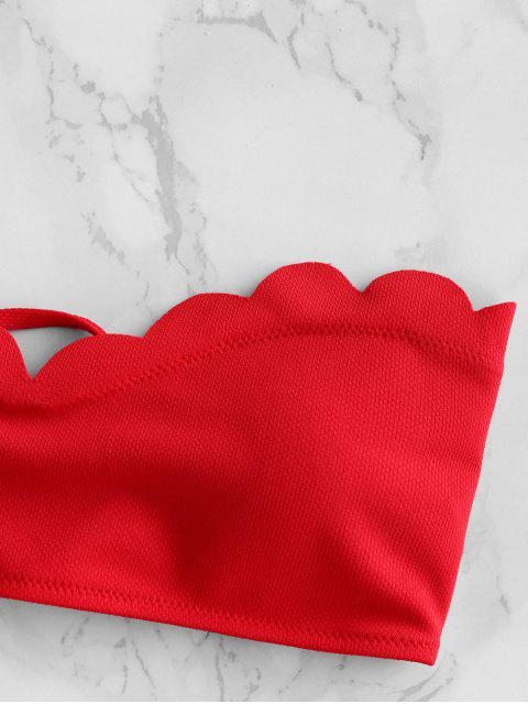 womens ZAFUL Textured Scalloped Sweetheart Bandeau Bikini Swimsuit - RED M Mobile