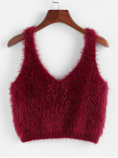 online ZAFUL Fuzzy Sleeveless Crop Sweater - RED WINE L Mobile